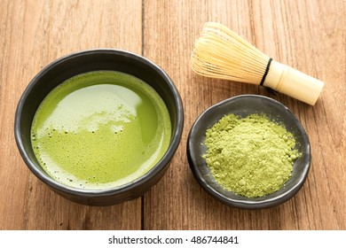 Green tea matcha set on the wooden table, Japanese style