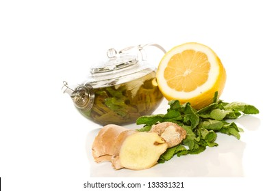 green tea with mint and ginger on a white background