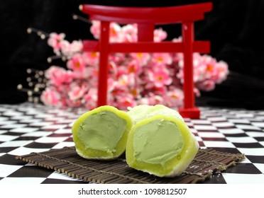Green Tea Mochi Ice Cream With Japanese Decorations