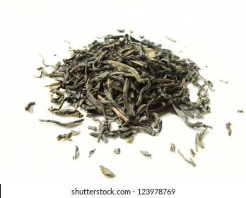green tea on white background