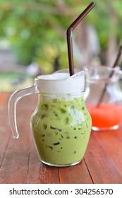 green tea on wood table