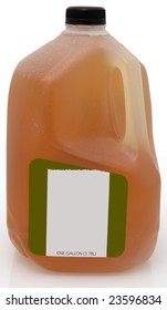 Green tea in one gallon plastic jug with blank label.