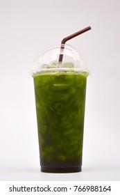 Green tea in plastic glass