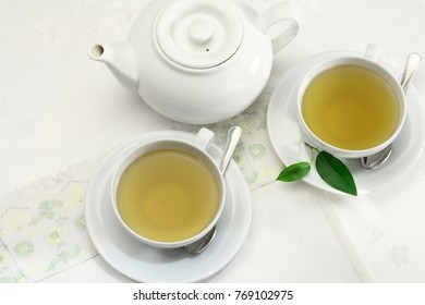 Green tea pot and green tea cups