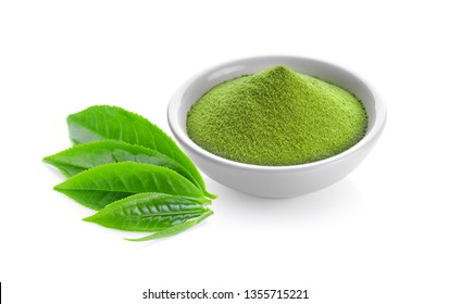 green tea powder in a bowl and leaf on white background