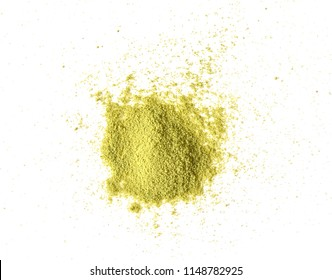 Green tea powder on white background