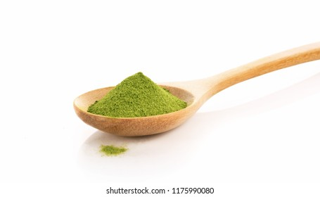 Green Tea Powder In Spoon Isolated On White Background