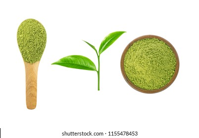 Green tea powder in wooden cup and wooden spoon with green tea leaf isolated on white background.