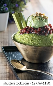 Green Tea Red Bean Bingsu With Ice-Cream (Korea dessert)