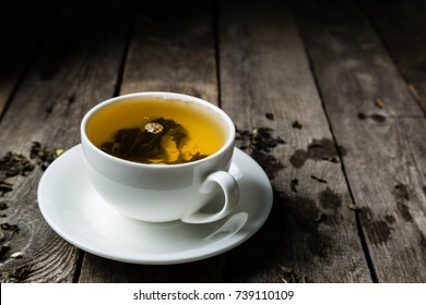 Green tea in white cup