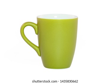 green teacup isolated on a white background