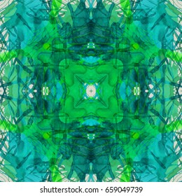 Green and teal abstract watercolor painting