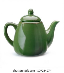 Green Teapot on white Background