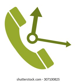 Green Telephone With Clock Hand Infographics Flat Icon, Sign Isolated on White Background