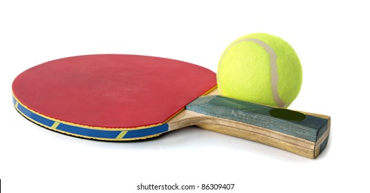 Green tennis ball on the red Table Tennis Racket