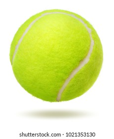 Green tennis ball over white background