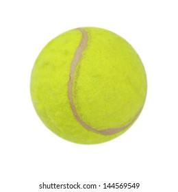 Green tennis balls on a white background