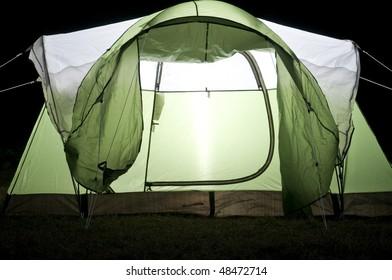 Green Tent Close Up