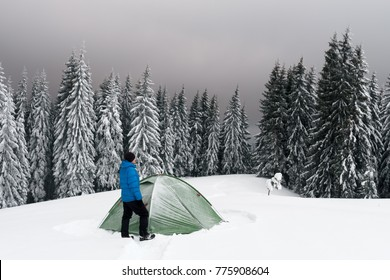 Green tent and tourist against the backdrop of snowy pine tree forest. Amazing winter landscape. Tourists camp in high mountains. Travel concept