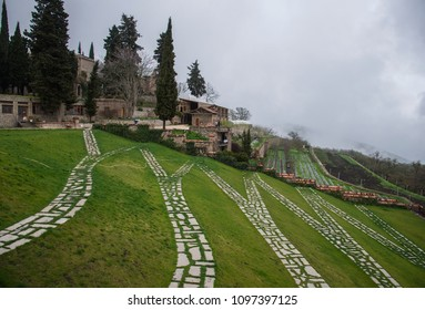 Green terraces in the Bodbe monastery. Sighnaghi, Georgia