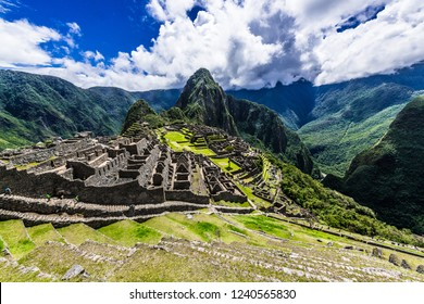 Green terraces of Machu Picchu