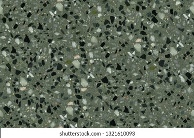 Green Terrazzo texture. Polished concrete floor and wall pattern. Color surface marble and granite stone, material for decoration