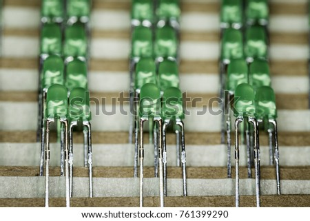 Green THT LED diodes on the tape