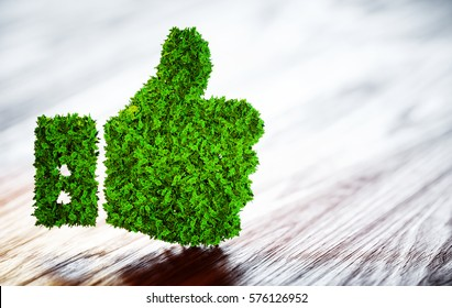 Green thumbs up sign on blurred wooden background. 3D illustration.
