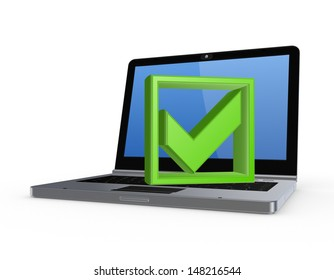 Green tick mark on notebook.Isolated on white.3d rendered.