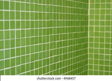 green tile in perspective