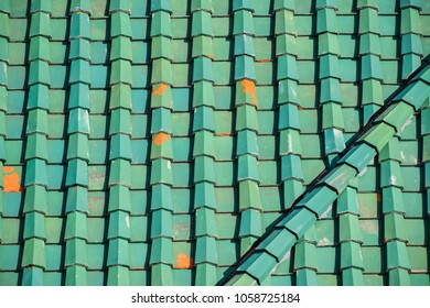 Green tile roof for background
