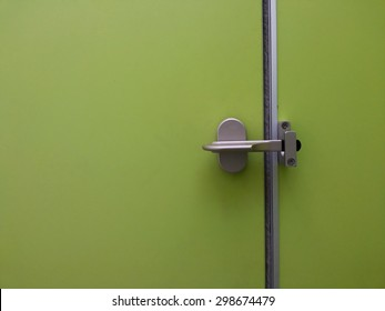 Green Toilet door close