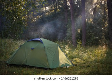 Green tourist tent stands in the woods, illuminated by rays of light. Established tent in the campaign.