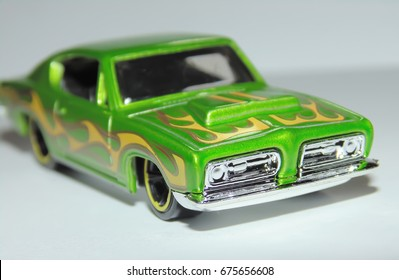 green toy muscle car