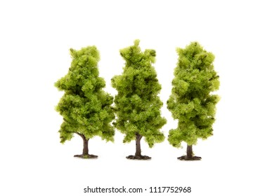 The green toy trees isolated on white