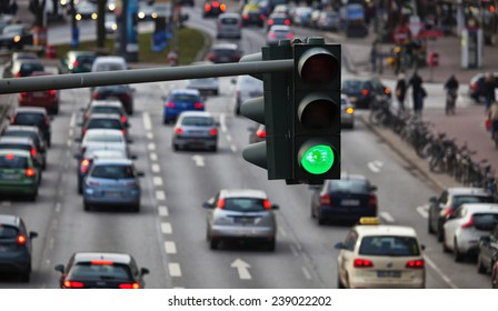 Green traffic light, big city traffic