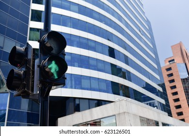 Green Traffic Light in the city Santiago de Chile