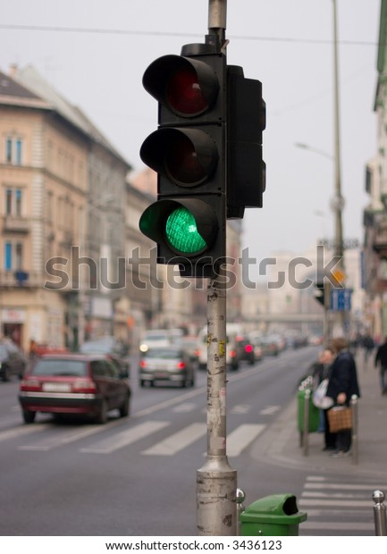 Green traffic light in a street of Budapest