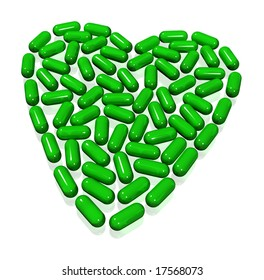 green transparent hearth of capsules on white
