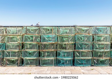A lot of green traps used in Portugal to catch octopus and crabs