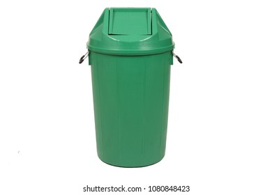 Green trash can (garbage bins) isolate on white background.