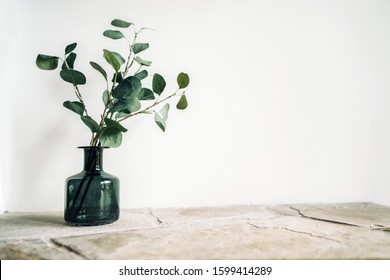 Green tree Branch putted into black glass vase on the natural stone mantel shelf on the white color wall background lit with side window light. Cozy home decor elements concept image.