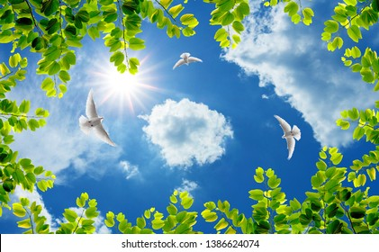 green tree branches and flying doves in sunny sky
