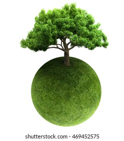 green tree and Earth 3D rendering
