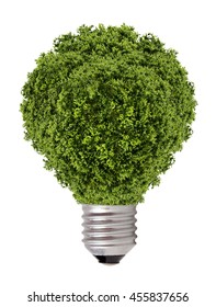 green tree growing out of a bulb,Green energy concept