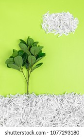 Green tree growing in recycled shredded paper, on bright green background. Environment protection and recycling concept.