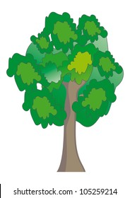 green tree illustration isolated on white background