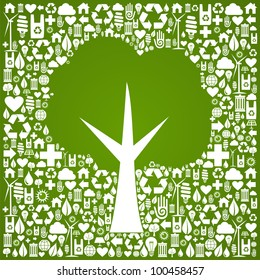Green tree symbol over eco icons background.