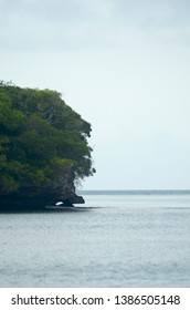 Green trees cover a small headland which juts into a calm ocean. A darker stretch of blue water is near the horizon. The sky is blue and hazy with faint cloud cover.