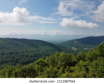 green trees and hills and sky in Massanutten, Virginia